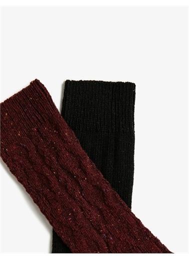 Koton Erkek 2'li Pamuklu Çorap Seti Bordo